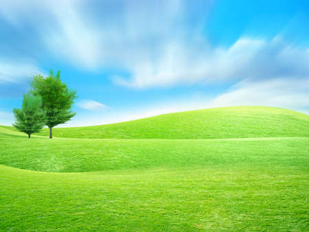 abstract sky overhand green meadow on hill Stock Photo - 4456570