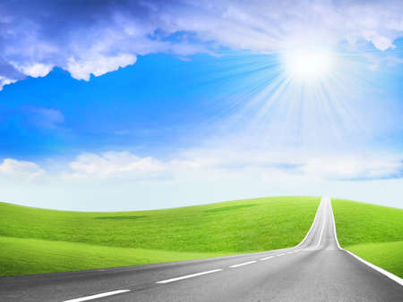 abstract scene of the road under blue sky