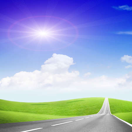 panoramic sky: abstract scene of the road under blue sky