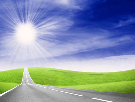 vibrant: abstract scene of the road under blue sky