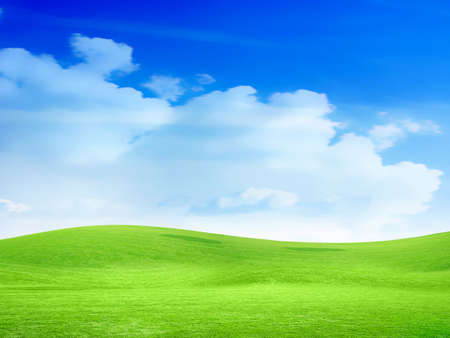 abstract sky overhand green meadow on hill photo