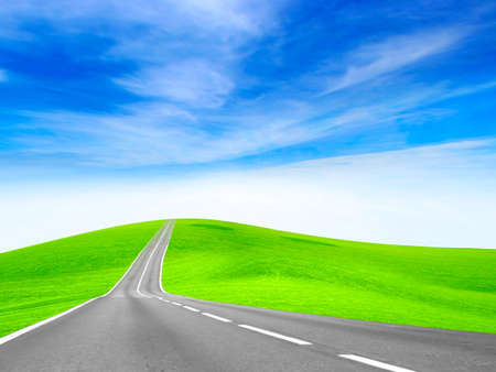 abstract scene of the road under blue sky photo