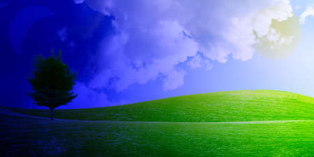 abstract sky overhand green meadow on hill Stock Photo - 4456426