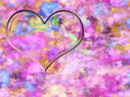 abstract scene drawing heart on texture background photo