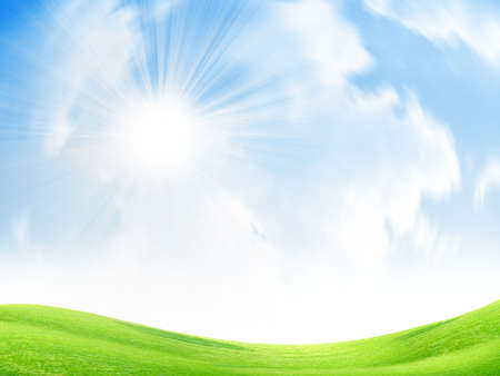 beautiful year landscape with solar sky
