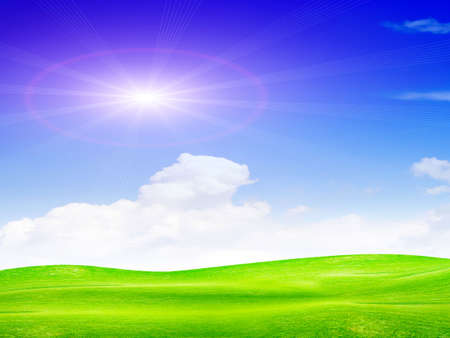 beautiful year landscape with solar sky Stock Photo - 4479912