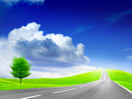 abstract landscape with road and blue sky