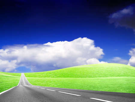 abstract landscape with road and blue sky Stock Photo - 4479878