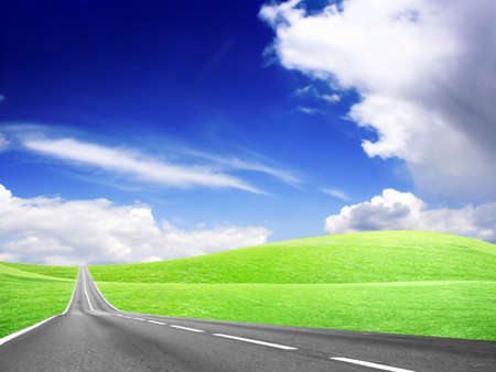 abstract landscape with road and blue sky Stock Photo - 4479886