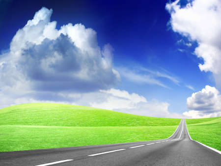 abstract landscape with road and blue sky photo