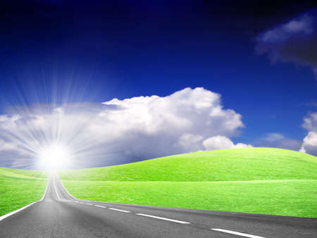 abstract landscape with road and blue sky Stock Photo - 4479880