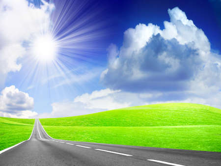 abstract landscape with road and blue sky Stock Photo - 4479910