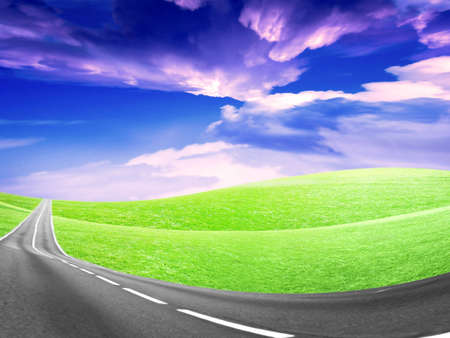 abstract landscape with road and blue sky Stock Photo - 4479901