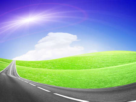 abstract landscape with road and blue sky Stock Photo - 4479911
