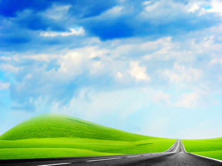 abstract landscape with road and blue sky Stock Photo - 4479852