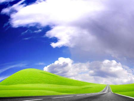 Astratto del paesaggio con la strada e cielo blu Archivio Fotografico - 4479846