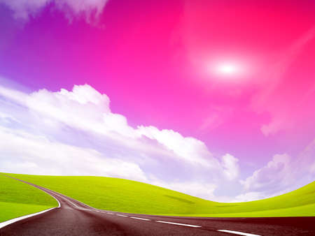 car garden: abstract landscape with road and red sky