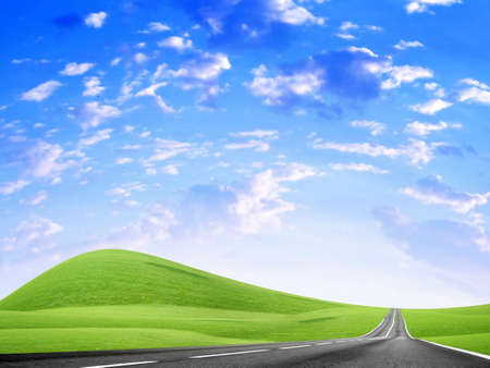 abstract landscape with road and blue sky Stock Photo - 4479853