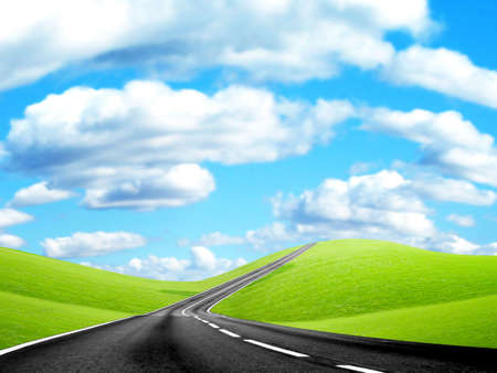 abstract landscape with road and blue sky Stock Photo - 4479866