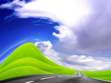 abstract landscape with road and blue sky Stock Photo - 4479844