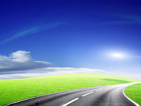 abstract landscape with road and blue sky Stock Photo - 4479855