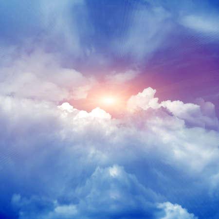 horizon over water: blue sky Stock Photo
