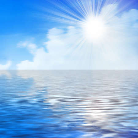 horizon over water: abstract reflection blue sky in water surface