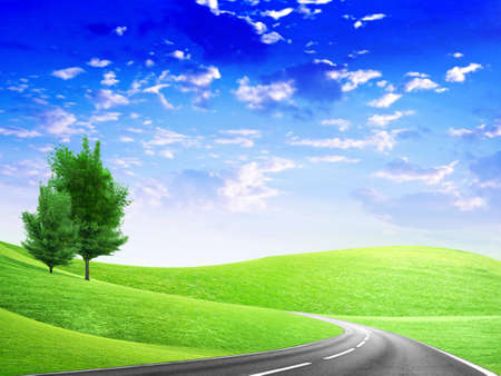 farming area: abstract route under blue sky Stock Photo