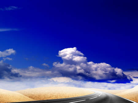 abstract route in desert under blue sky photo