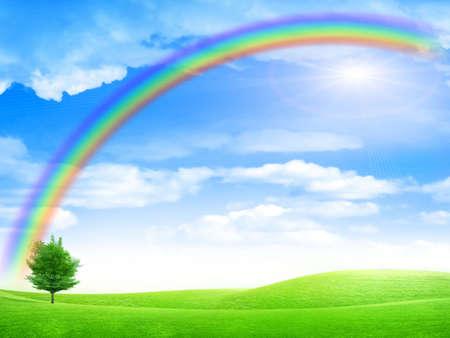 green landscape and rainbow on solar sky