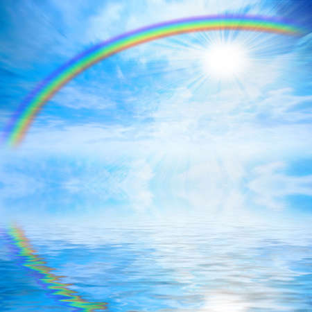 abstract reflection in water rainbow on solar sky photo