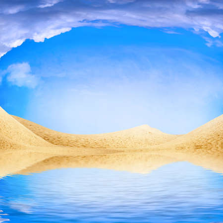 horizon over water: abstract reflection in water of the sandy landscape and solar sky