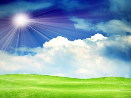 plain under abstract solar sky Stock Photo - 4565244