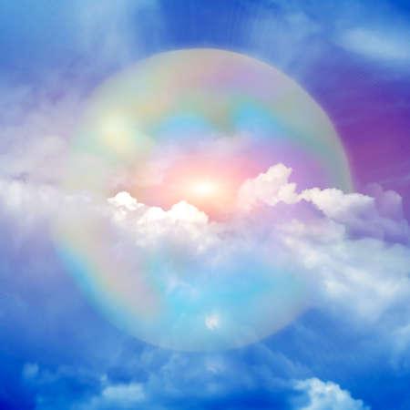 抽象的な惑星と太陽の空