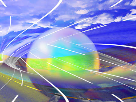planet car: abstract route on background of the celestial landscape