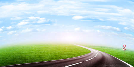 abstract scene country road under blue solar sky Stock Photo - 4612851