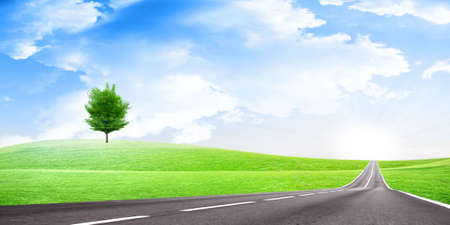 abstract scene country road under blue solar sky Stock Photo - 4612888