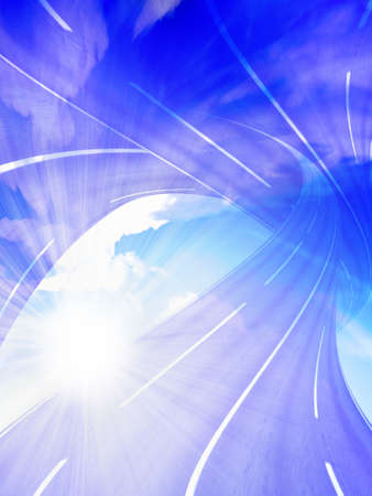 abstract scene with sun and route photo