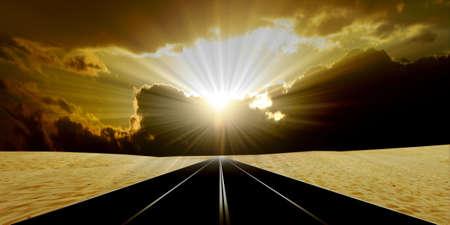 strong base: itinerario nel deserto su sfondo celeste del paesaggio
