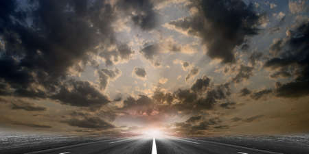 sectoring: route on background celestial landscape Stock Photo