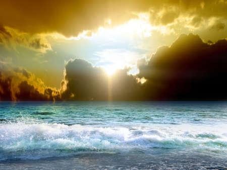 celestial: sea beach under beautiful solar sky