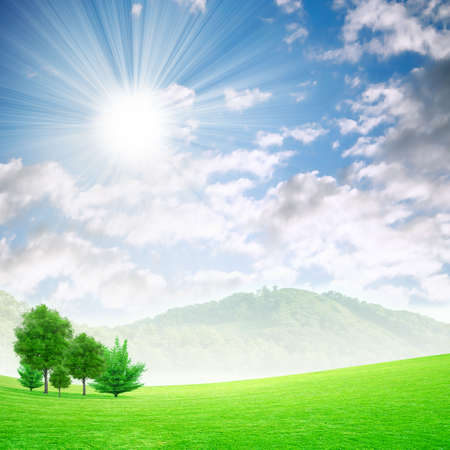green meadow under beautiful solar sky photo