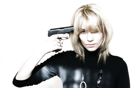 abstract scene beautiful girl wants to kill itself from of pistol photo