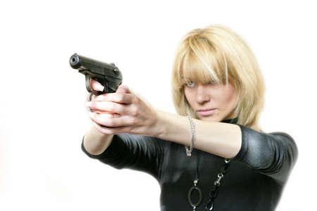 mujer con pistola en mano  Foto de archivo - 6041164