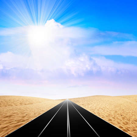 sectoring: route in the desert Stock Photo