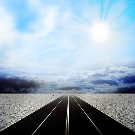 route in the desert Archivio Fotografico
