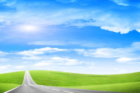 sectoring: abstract country freeway under blue solar sky Stock Photo