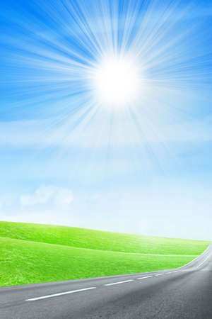 green abstract plain under solar sky photo