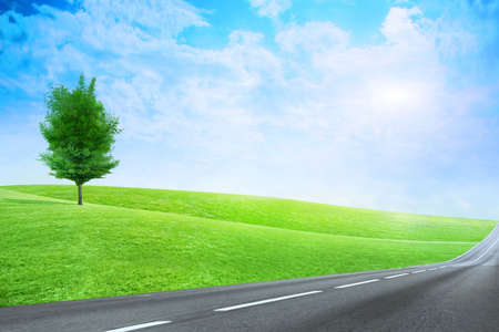 green abstract plain under solar sky
