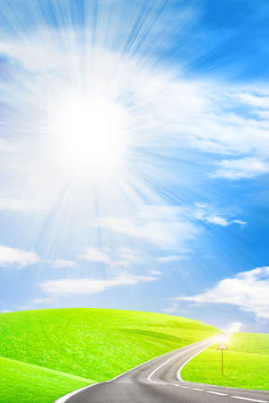 abstrakt Szene Land Route unter blauen Himmel